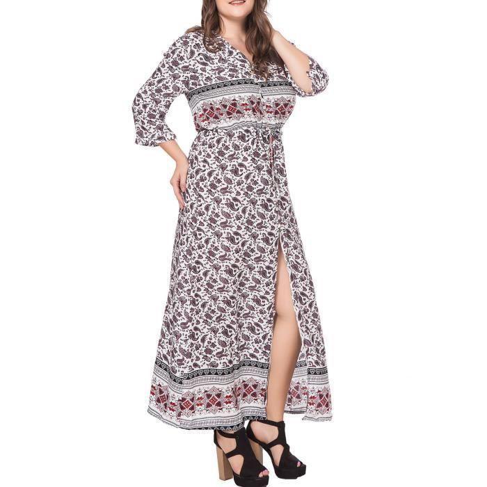 robe des femmes contre le cou trois quarts manchon floral taille plus aline maxi robe longue