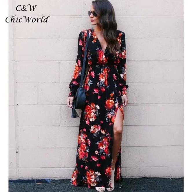 2018 Printemps Robe Longue Femme Noir Nouveau Mode Deep V Neck Imprimé  Floral Split se Termine Conception Sexy Robe Vêtements f411595c208