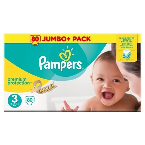 Pampers Premium Protection Taille 3 Midi 5 9 Kg Couches 80 Pièces