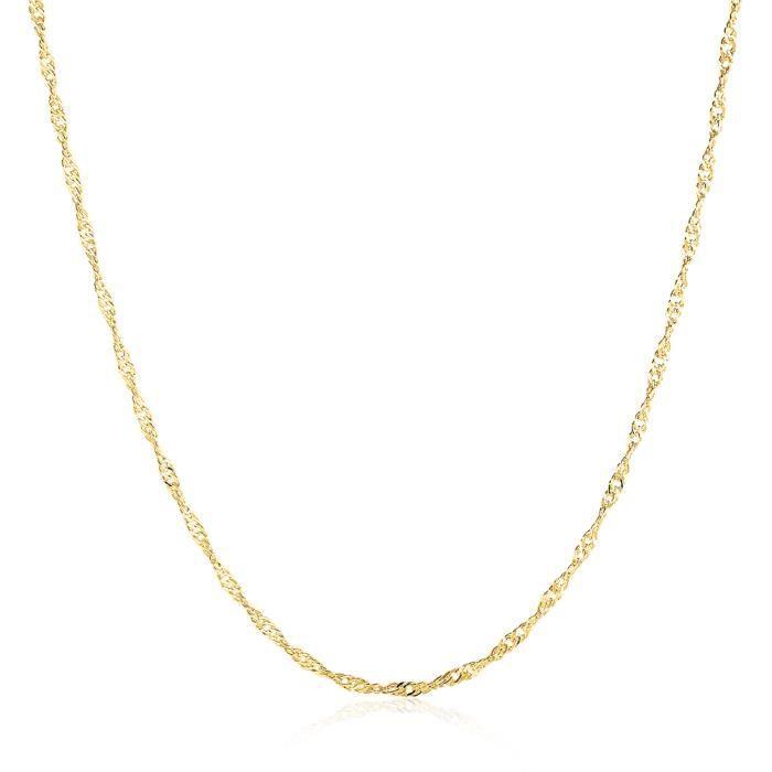 SHINA Chaîne de torsion d'eau pure de l'argent sterling 925 18K collier de chaîne de torsion