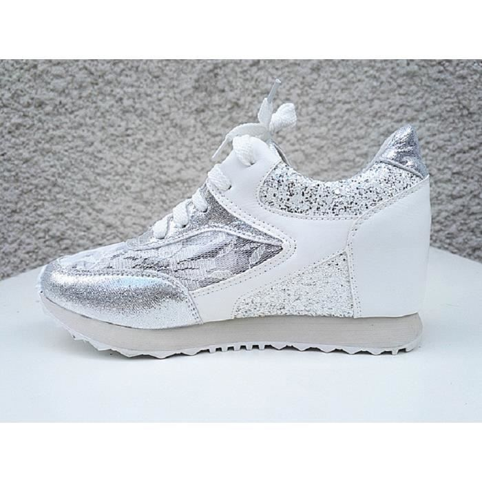 Fashionfolie888 - Basket compensées montante dentelle femme chaussure fille lacet strass mode 6808 BLANC