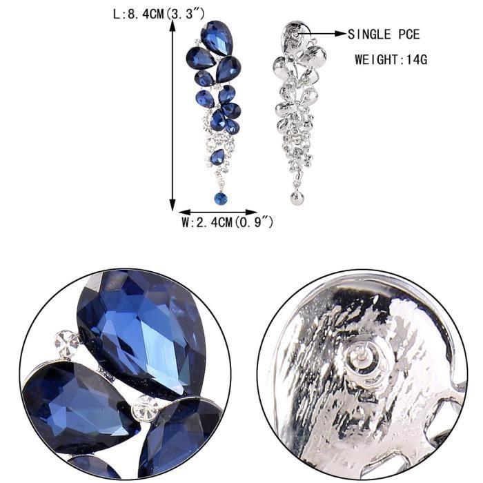 EVER FAITH® Femme Cristal Magnifique Larme Pendantes Mariage Boucles dOreilles Bleu Marin Plaqué Argent Percée