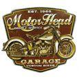 Plaque Motor Head Garage Embouti Tole Deco Moto Usa Relief Achat