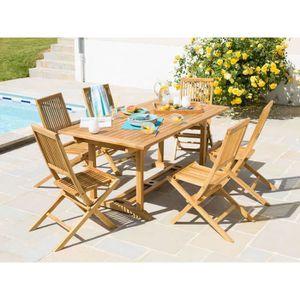 Salon de jardin Teck C FSC 6 places : table rectangulaire 170 ...