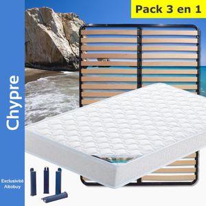 ENSEMBLE LITERIE Chypre - Pack Matelas + Lattes 140x200 + Pieds