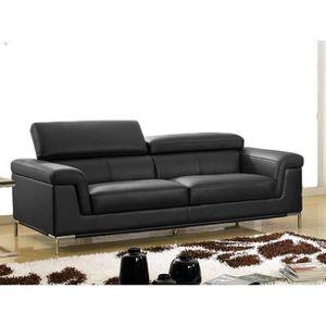Canape 3 Places En Cuir Noir Rania Achat Vente Canape Sofa