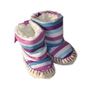 BOTTE Bottes bébé souples et fourrés, rayures violettes.