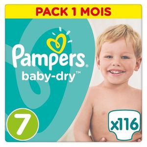 COUCHE PAMPERS Baby-Dry Taille 7 (+15kg) - 116 couches -