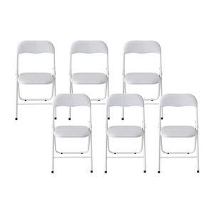 CHAISE THIN Lot De 6 Chaises Pliantes Blanc