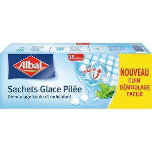 SAC POUBELLE ALBAL 15 sachets de glace pilée - Démoulage facile