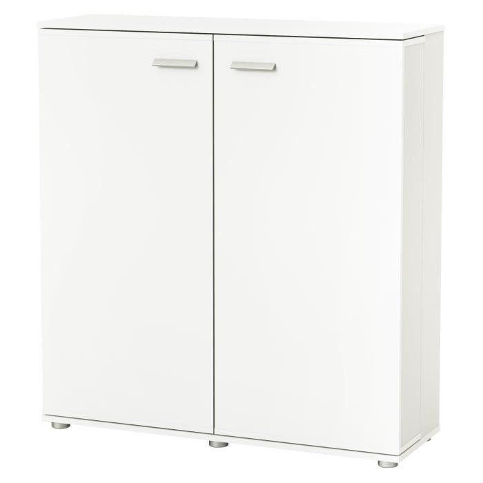 Panneaux de particules blanc perle - L 100,6 x P 32,8 x H 108,5 cm - 12 niches de rangementMEUBLE A CHAUSSURES