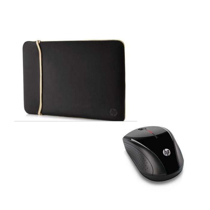 Hp housse de protection pc portable chroma sleeve 14 réversible doré souris sans fil hp x3000
