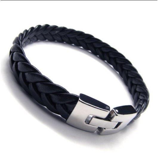 0129e82de6b5b Bracelet Homme cuir tressé et fermoir sécurisé acier stainless-Gourmette