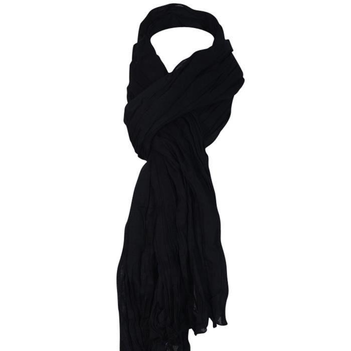 beb6fb65840 Chèche noir froissé - Achat   Vente echarpe - foulard 3700906505148 ...