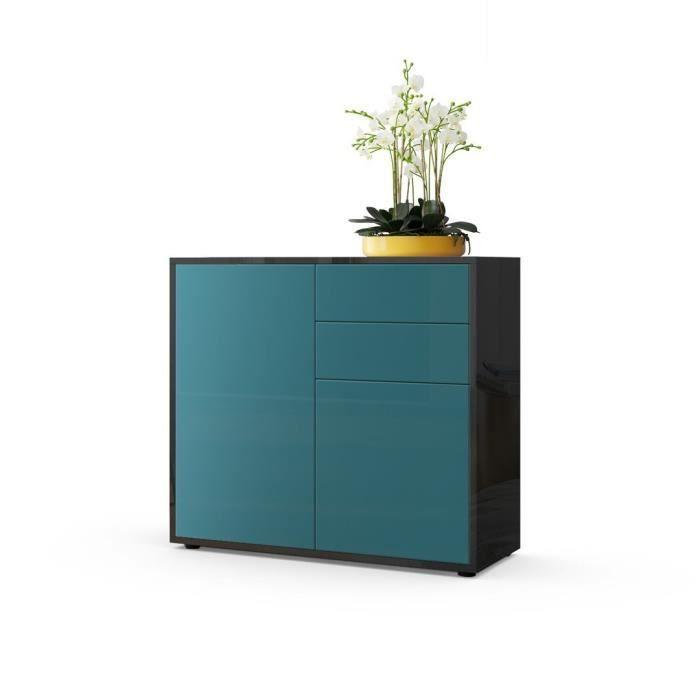 Commode intégralement laquée noir et Turquoise 79 cm - Achat / Vente ...