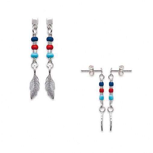 Boucles doreilles plumes et pierres de couleur Argent Massif 925