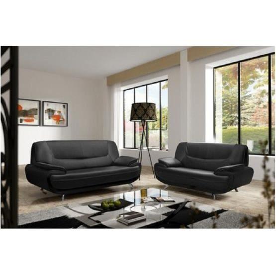 canape cuir 2 places gris achat vente canape cuir 2 places gris pas cher cdiscount. Black Bedroom Furniture Sets. Home Design Ideas