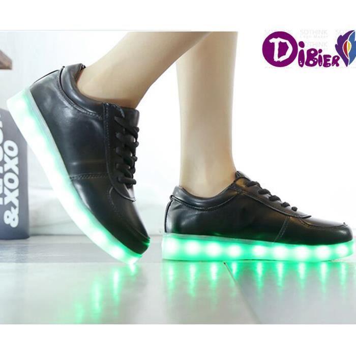 Nouveaux Hot Sporty Casual Basketball Sneaker chaussures légères 7 couleurs Chaussures de charge USB éclairage fluorescent LED homme