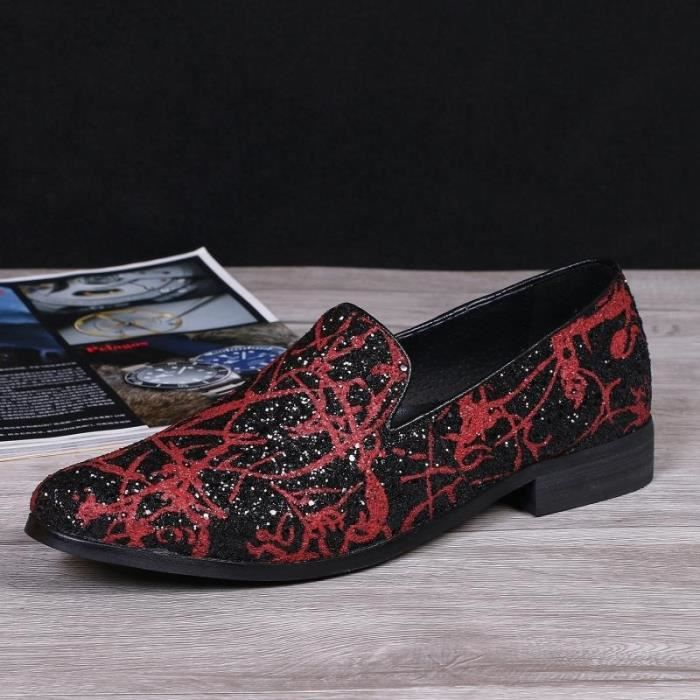 Hommes Chaussures New impression haut de gamme Rouge Luxe Mode oisifs Flats Big Taille UE 38-47