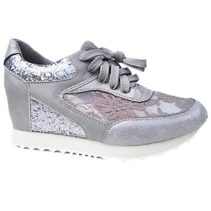 Fashionfolie888 - Basket compensées montante dentelle femme chaussure fille lacet strass mode 6808 GRIS