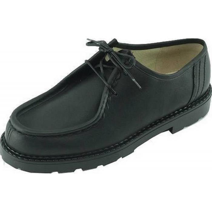 d703c43d9f48f2 Rochefort - Style Golf Chaussures Homme souple semelle caoutchouc marque  Edito fabriqué en France cuir noir