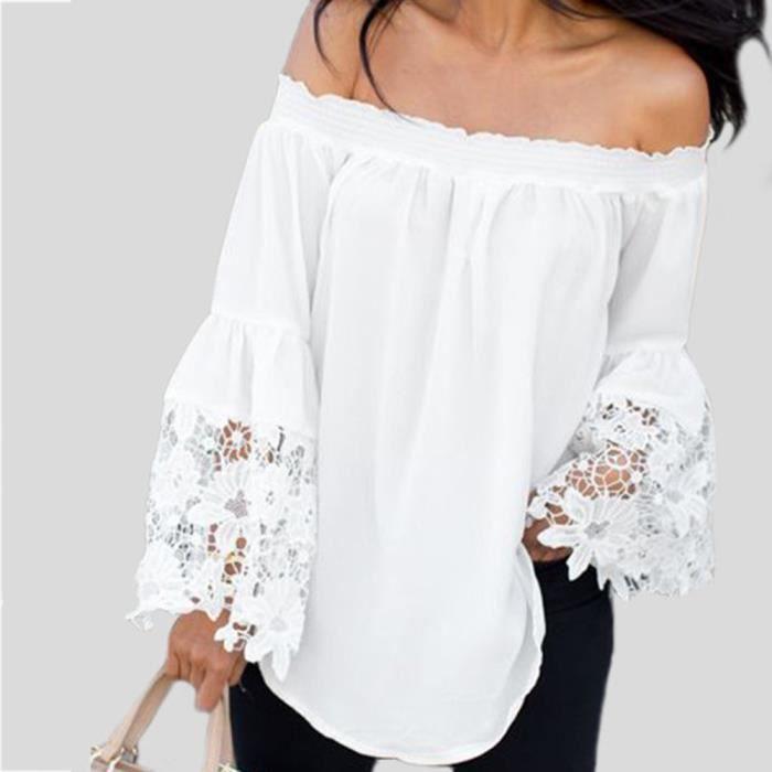les ventes chaudes efa3a ab858 Femmes en dentelle blanche Brochage Encolure évasé à manches longues  Chemisier@blanc