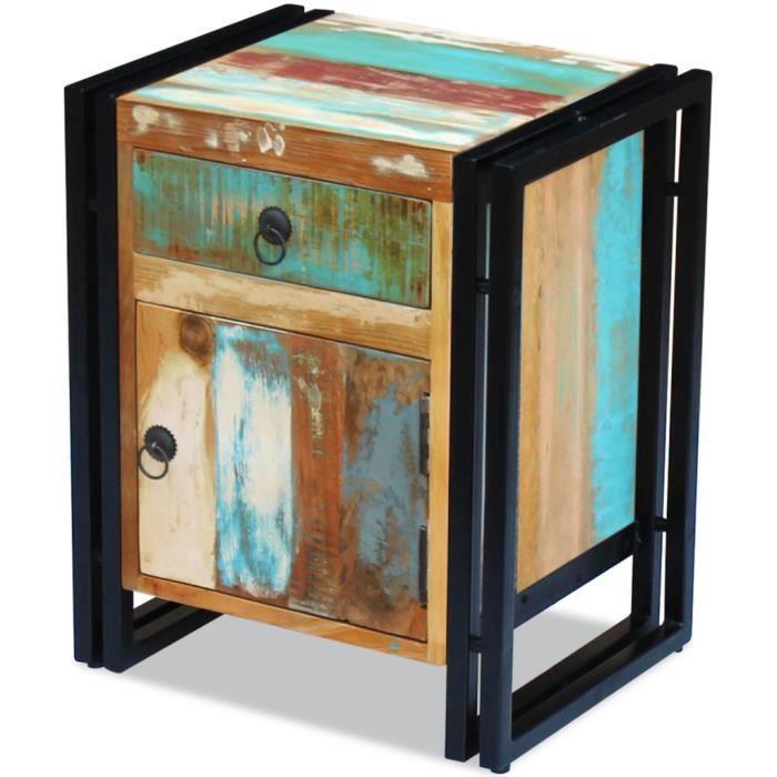 vidaxl table de chevet bois r cup ration massif achat vente chevet vidaxl table de chevet. Black Bedroom Furniture Sets. Home Design Ideas