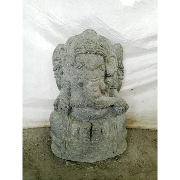 Statue De Jardin En Pierre Volcanique Ganesh  C