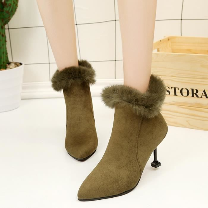 Mode femme Bottes hiver femme Bottes de neige en peluche cheville Flock Zip chaud Chaussures à talons hauts,armée verte,39