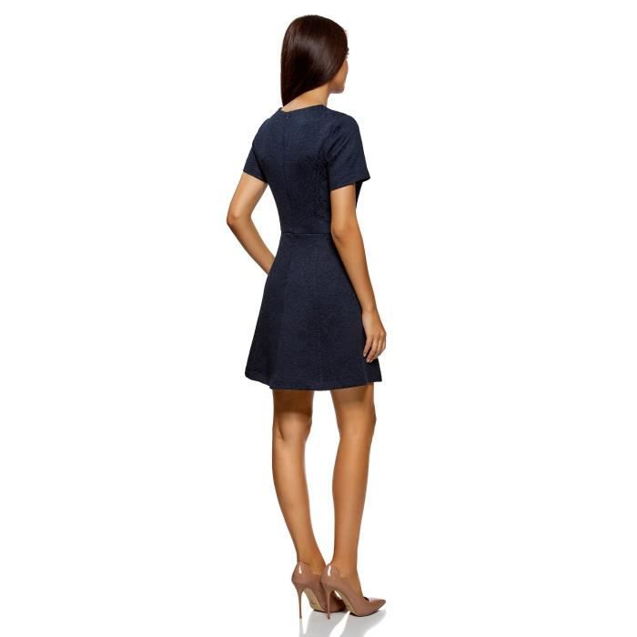Womens Short Sleeve Jacquard Dress 2X4FY3 Taille-36