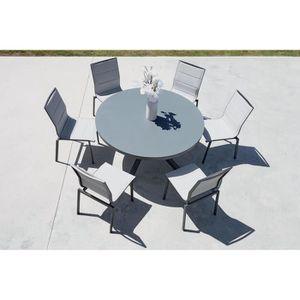 Salon de jardin table ronde en verre - Achat / Vente pas cher