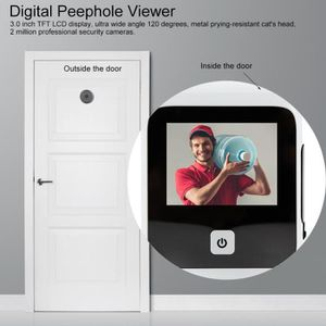 FENÊTRE - BAIE VITRÉE 3,0 pouces LCD numérique judas Viewer 120 ° Monite