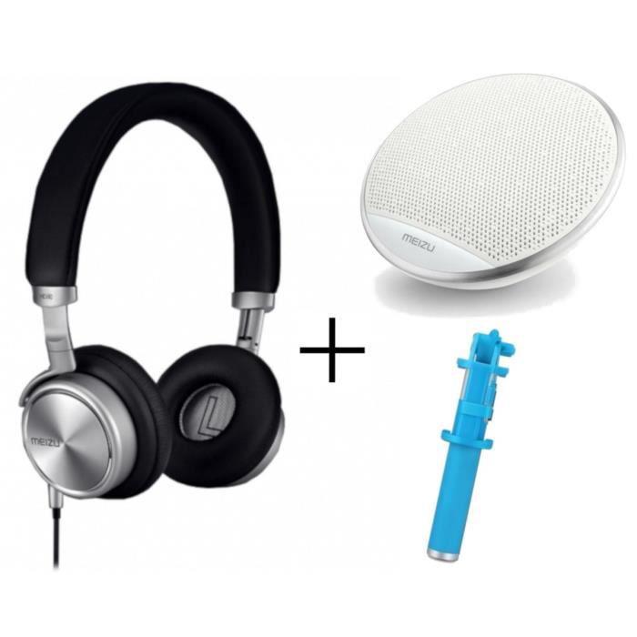 MEIZU Casque filaire Audio HD50 Noir + Enceinte Bluetooth portable A20 Compacte + Perche Selfie Bleue