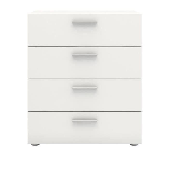 Panneaux de particules blanc - L 70 x P 40,3 x H 82 cm - 4 tiroirs - Fabrication européenneCOMMODE DE CHAMBRE