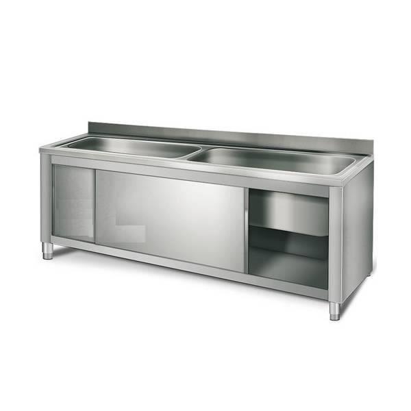 meuble sous vier professionnel 2 cuves 90 x 40 x 35 cm 100 acier inox 20 x 06 equipementpro