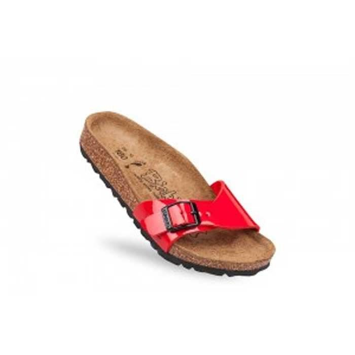 Sandales nu-pieds BIRKI'S Menorca Birko-Flor® Rouge Vernis Enfant Pointure 29
