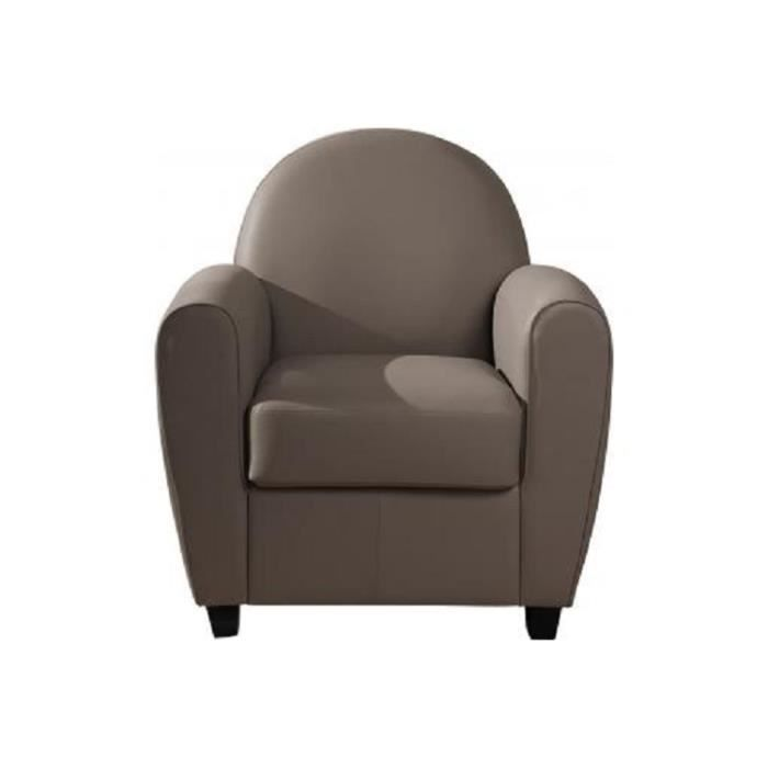 Fauteuil Club Effet Cuir Taupe PATRICIA Achat Vente fauteuil