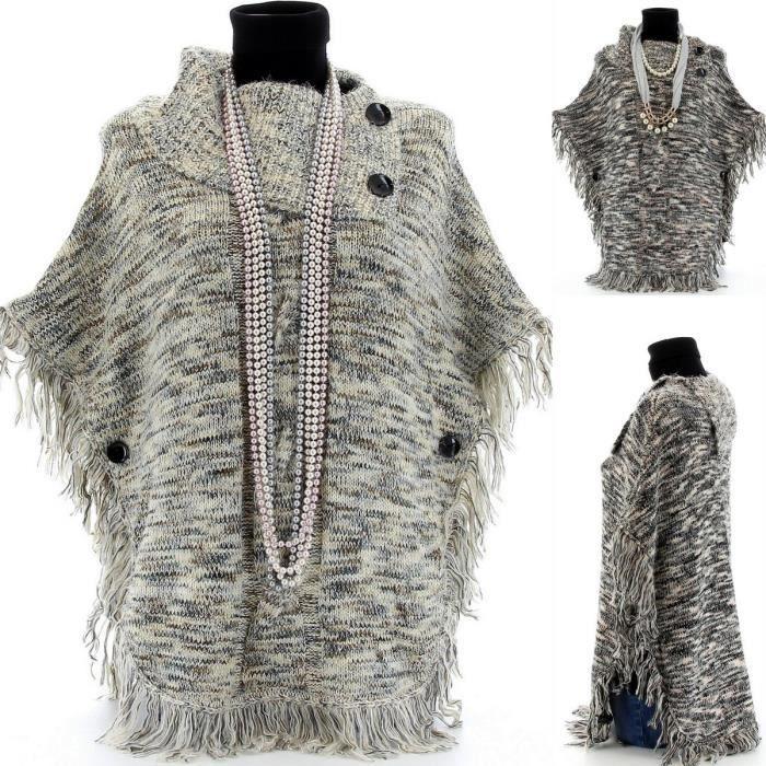 poncho cape laine tricot alphonsine femme achat vente pull soldes d s le 10. Black Bedroom Furniture Sets. Home Design Ideas