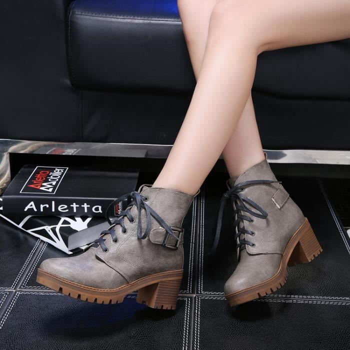 bottes courtes-Pure Color Place Femmes Heel Ban...