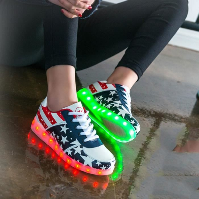 Led 7 Star Shoes Usb Color Flash Chaussure Charging Lumineuse Unisex Changing Printing Casual pTTr1qA5