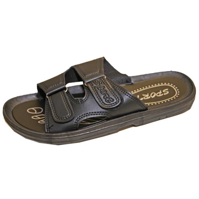 Sandale Sandalette Tong Mule Claquette Homme Similicuir Fermeture par Scratch