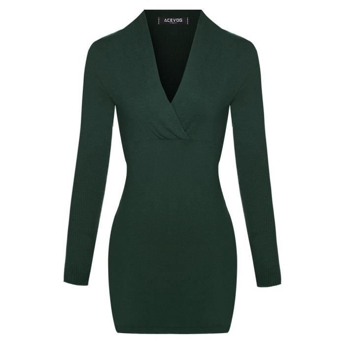 Robe femmes à manches longues Casual v-cou taille haute solide Slim tricots