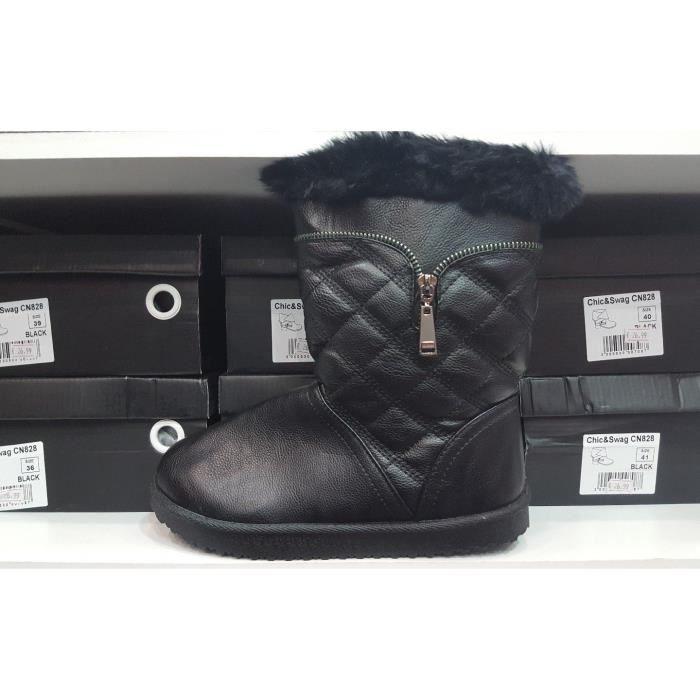 botte bottine apres ski femme fourree noir noir noir - achat / vente
