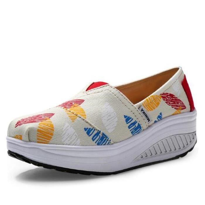 Chaussures Femmes Mode Detente Haute Qualité fond épais Chaussure GD-XZ087Gris37 530pyBbNE