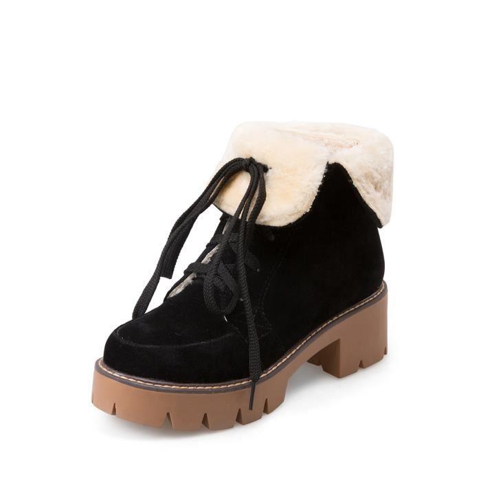 Britannique Femmes style Bottines Strappy bout rond Casual Chaussures à talon épais 12993600