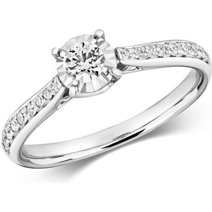 Bague Femme Solitaire Fiancailles Or Blanc 375-1000 et Diamant Brillant 0.36 Carat GH - I1 37590