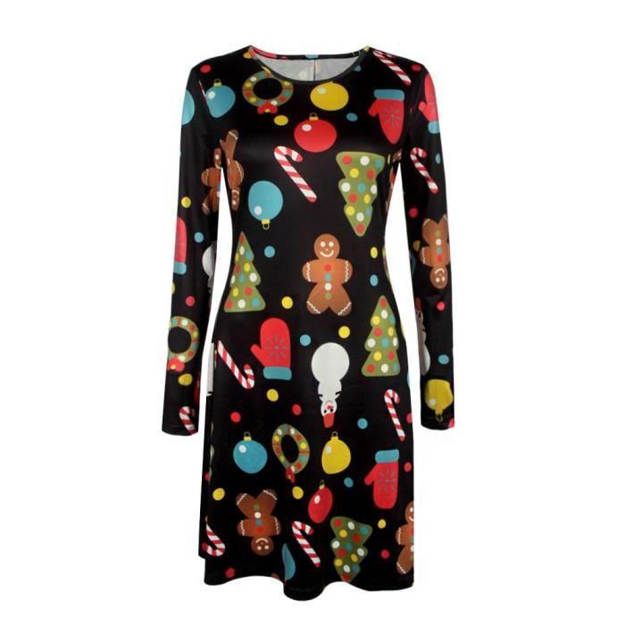 Femmes Robes de Noël est pour Casual Père Noël Imprimer manches longues A-ligne Robes Taille 6-20 2QKSD0 Taille-44