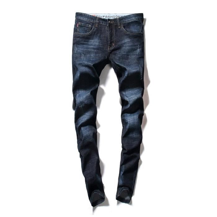 571052279 Jeans Skinny Stretch Homme Slim Fit Effet Délavé 5 Poches Casual Jean Bleu  Taille Moyenne
