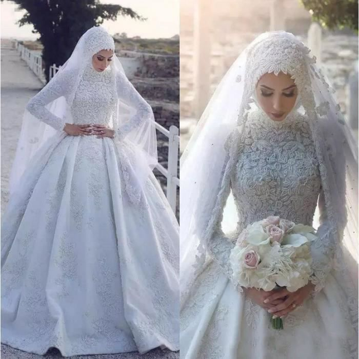 Ofeli Arabe Dubai Dentelle De Luxe Robes De Mariée Col Haut Manches Longues Robe De Mariée Musulmane