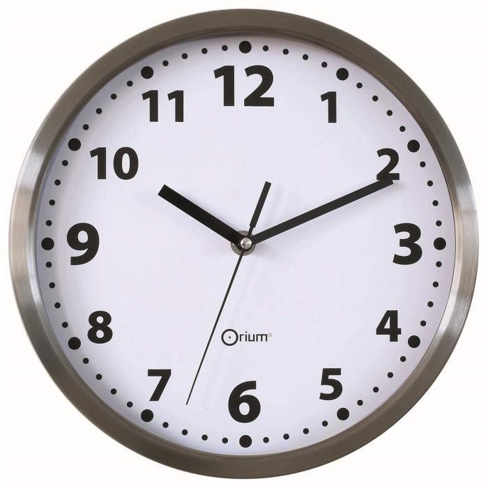 Horloge murale 25cm piles grise achat vente horloge pendule inox cdiscount for Pendule cuisine inox